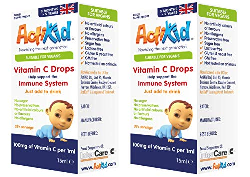 2 Pack ActiKid Vitamin C Drops 100mg per 1ml - 15ml for Infants and Children | Vegan | Sugar Free | Preservative Free | No Allergens | Baby | Vitamin C Supplement | Immune System Booster