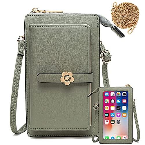 Handy Umhängetasche Geldbörse Damen Touchscreen Handtasche zum Umhängen Leder Schultertasche Klein Handy Tasche für iPhone 12/12 Pro/11/XR/Xs, Samsung Galaxy S21/S20/S10/S9, Handy bis zu 6.5'' (Grün)