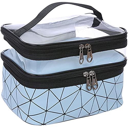 Bolsa de transporte transparente de doble capa de viaje bolsa de lavado de gran capacidad Pu cuero transparente