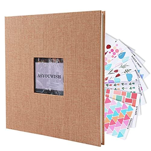 ASYOUWISH Álbum de Fotos, Autoadhesivo, Álbum de Recortes de Lino con Ventana,...