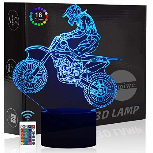 Comiwe Motocross Luz de Noche de Ilusión 3D,Control Táctil y Remoto de 16 Colores,Lámpara de Mesa de Noche LED Para Decoración del Hogar,Regalo Para,Niños,Adultos,Amigos y Familia