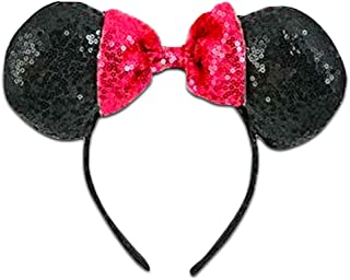 Disney Minnie Mouse Ears Sequin Headband Set ~ Glittering Minnie Mouse Ears, Kids Adult (Black and Pink)
