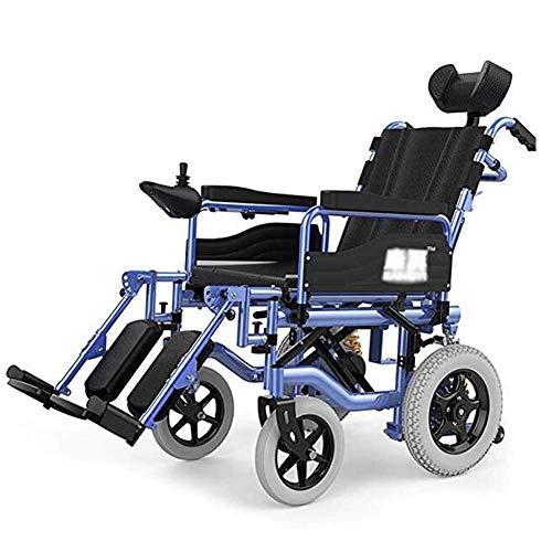 Silla de ruedas eléctrica para trabajo pesado con reposacabezas, silla de ruedas eléctrica plegable y liviana, ancho del asiento 45 cm, respaldo ajustable y ángulo del pedal, palanca de mando de 360