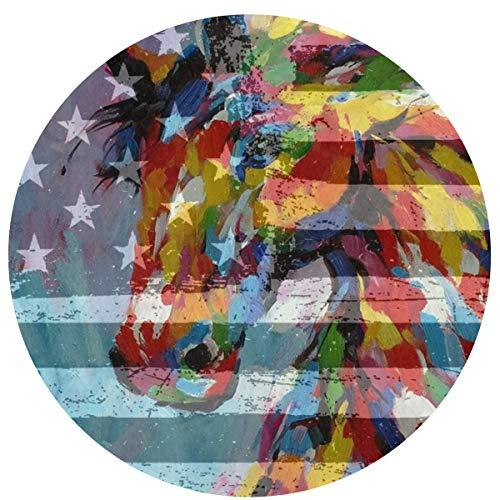 Bandera americana Color Caballo Cómodo Cojín de asiento antideslizante Cojines circulares para sillas Alfombra redonda Alfombra redonda Linda silla giratoria Alfombrilla para taburete Cojín de
