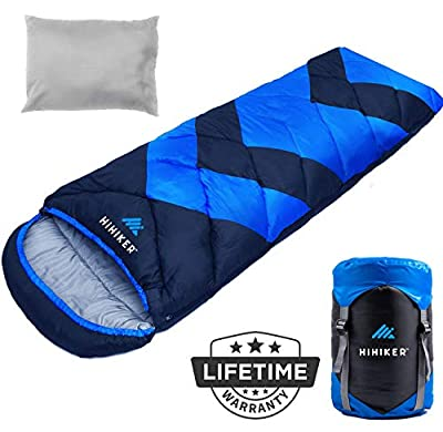 HiHiker Camping Sleeping Bag + Travel Pillow w/Compact Compression Sack – 4 Season Sleeping Bag for Adults & Kids – Lightweight Warm and Washable, for Hiking Traveling. (Royal Blue Bold)
