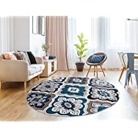 Generations 8' Round Contemporary Panal and Diamonds Modern Area Rug