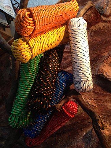 Seil 4mm - 16mm,Polypropylen Seil, Polypropylenseil, Bootsleine,Ankerleine,Festmacher,Allzweckseil, Segeltauwerk, Mehrzweckseil, Bootstau, Strick, Ersatzseil (Gelb mit blau/roter Markierung, 6 mm)