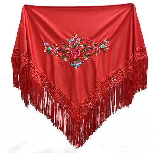 MUNDDY - Mantón Bordado en Flores Para niña. Mantones Flamenco Sevillana.Color Rojo Negro Rosa Blanco Amarillo Azul. Envio desde madrid con seguimiento. … (Rojo)