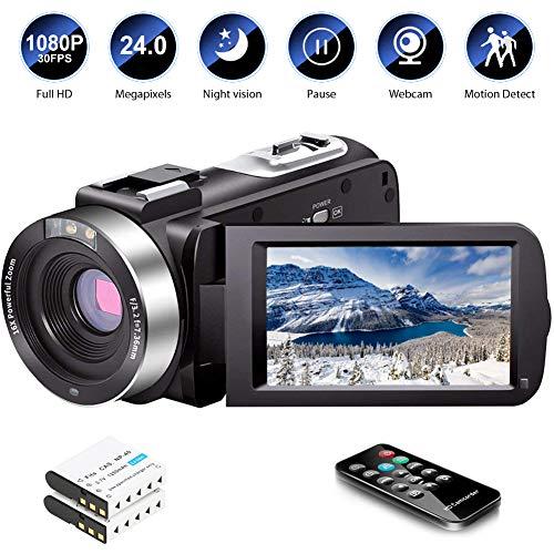 Video Camera Camcorder Full HD 1080P 30FPS 24.0 MP IR Night Vision Vlogging Camera Recorder 3.0...