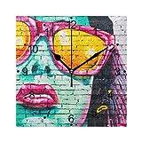 DragonSwordlinsu COOSUN - Reloj de pared con pintura en aerosol silencioso, acrílico, 20 cm, cuadrado decorativo para el hogar, oficina, cocina, dormitorio, sala de estar