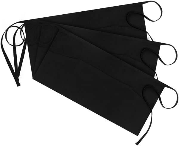 Syntus 3 Pack 3 Pockets 100 Cotton Waitress Waist Apron 11 5 Inch Black