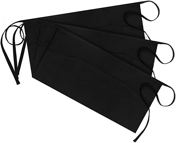 Syntus 3 Pack 3 Pockets 100 Cotton Waitress Waist Apron 11 5 Inch Black