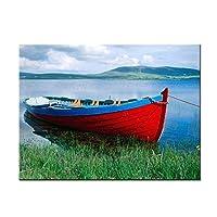 """キャンバスにHDプリント絵画湖に赤いボート風景ポスタープリントウォールアート写真リビングベッドルーム家の装飾15.7"""" x 23.6""""(40x60cm)フレームレス"""