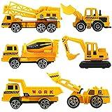 HERSITY Camiones de Construcción Pequeños Juguetes Vehículos de Metal 6 Piezas Regalos para Niños