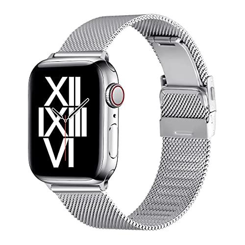 AFEKYY Correa de repuesto compatible con Apple Watch de 44 mm, 42 mm, 40 mm, 38 mm, acero inoxidable y metal compatible con Apple Watch 6/5/4/3/2/1, SE. (42 mm, 44 mm, plateado)