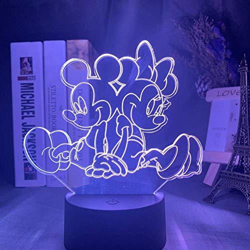 Veilleuse 3D Minnie Mickey Veilleuse 3D Tactile Télécommande Lampe Décorative En Acrylique Chambre À Coucher Colorée Noire Base_Minnie Mickey Back To Back