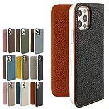 iPhone11 ブラック×オレンジ バイカラー本革シュリンクレザーケース iphone12 mini iphonese i……