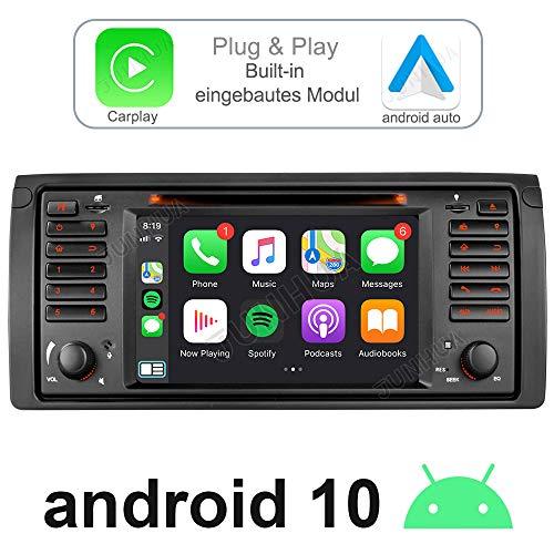 Junhua Android 10.0 Eingebautes Carplay+Android Auto DSP Autoradio DVD GPS Navigation für BMW E39 E38 Unterstützt Fast Boot Bluetooth DAB + WiFi 4G USB Subwoofer Mirrorllink AV-Out (7 Zoll)