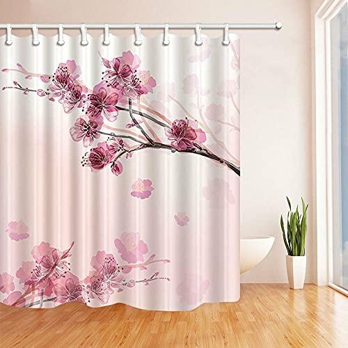Pflaume Duschvorhang für Badezimmer,wasserdichtes & schnelltrocknendes Polyester,hochauflösendes Muster,12Haken,180X180cm,Heimtextilien
