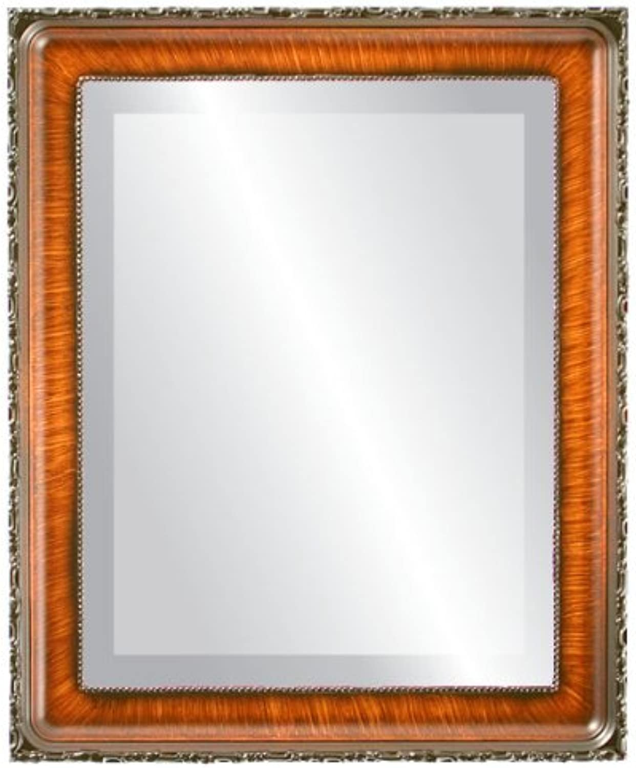 OvalAndRoundMirrors  Rectangle Beveled Mirror in a Kensington style Vintage Walnut frame with 15x19 outside dimensions