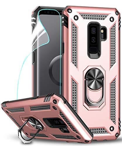 LeYi Hülle Galaxy S9 Plus Handyhülle,360 Grad Drehbar Ringhalter Cover TPU Magnetische Bumper Schutzhülle mit HD Folie Schutzfolie für Hülle Samsung Galaxy S9 Plus/Galaxy S9+ Handy Hüllen Rosegold