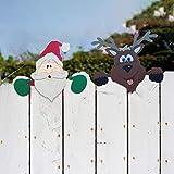 Dantazz Weihnachtsmann Zaun Peeker Deko Weihnachten Gartenzaun Späher Ornament Weihnachten Schneemann Zaun Dekoration Weihnachtsschmuck Weihnachtszaun Dekor für Outdoor Garten Hof (2PC, 60x40cm)