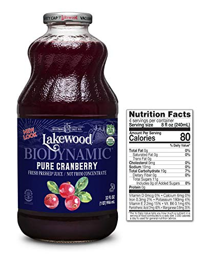 Lakewood Organic Biodynamic Juice, Pure Cranberry, 32 Ounce (Pack of 6)