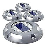 Springisso 4 Luces solares de Metal para Suelo, luz Impermeable Duradera de Aluminio con LED Blanco cálido para Camino, Entrada, Patio, césped