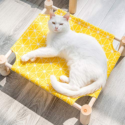 PUMYPOREITY Portable Elevated Pet Cot Bed for Cat Dog, Summer Breathable Detachable Raised Cat Kitty Puppy Nest Hammock Lounge Bed, Durable Canvas, Pine Wood Stand, Indoor or Outdoor Use, 21x19 in