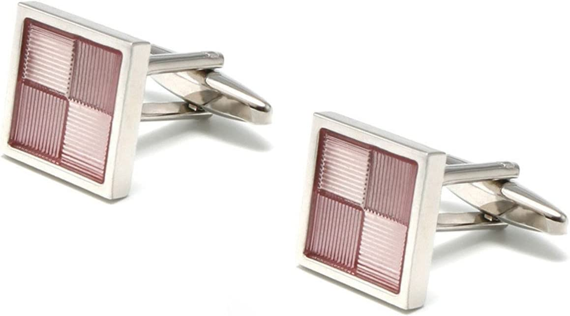 BO LAI DE Men's Cufflinks Pink Gradient Check Stripe Cuff Links Suitable for Business Events, Meetings, Dances, Weddings, Tuxedos, Formal Wear, Shirts, with Gift Boxes