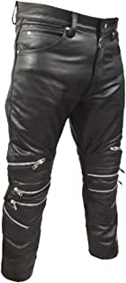 Mens Real Black Leather Pants Motorbike Trouser Biker Breeches Zipper Jeans for Men