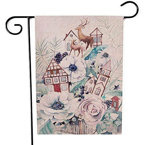 jiaxingdalin Aquarell-Winter-Märchen des Garten-Flaggen-im Freien gemalter Blumenstrauß-alte Haus-Rotwild-Anemonen-Blumen-saftige dekorative Yard-Flagge