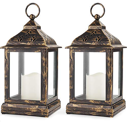 Bright Zeal 2-Pack 9' Bronze Candle Lantern With LED Flameless Candle - Battery Lantern Decorative Candle Lanterns For Indoors -Hanging Lanterns Decorative Indoor Tabletop Lantern Timer Lantern Lights
