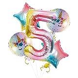 Globo digital con número 5, tamaño de 101,6 cm con forma de arco iris para decoraciones de fiesta de 5º cumpleaños con globos de unicornio de 45,7 cm y globo de estrella de aluminio para niños y niñas