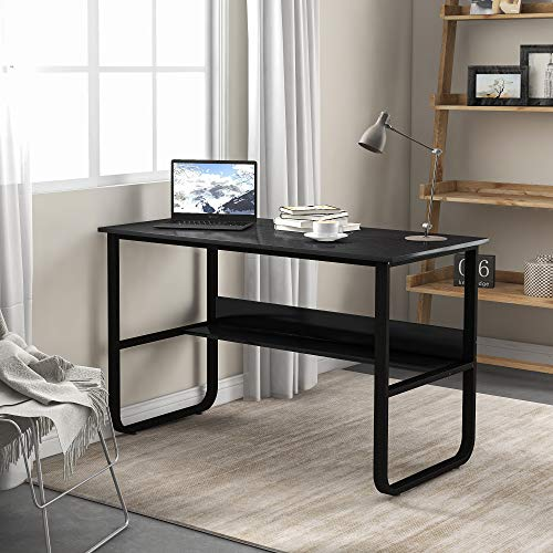 Schreibtisch, Computertisch mit Ablage, U-förmiger Bürotisch für Home Office, PC - Tisch, 120x60x73cm (LxBxH) (Schwarz)