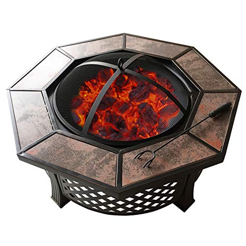 RANRANHOME 32'' Outdoor Fire Pit, Large Metal Octagon Firepit Patio Stove Wood Burning BBQ Grill Fire Pit Bowl with Spark Screen Cover, Log Grate, Poker,81X37cm