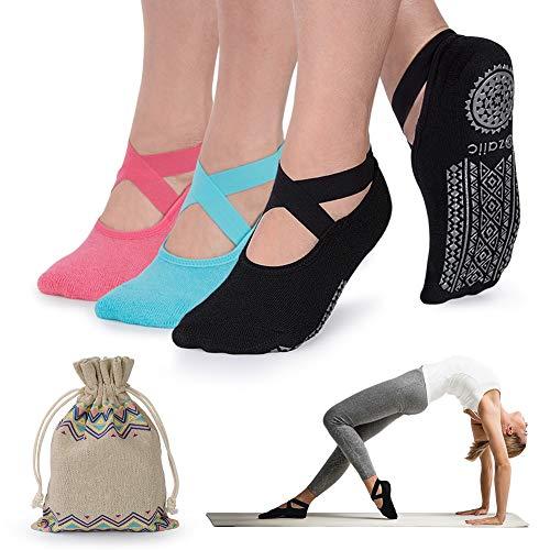 Ozaiic Yoga Socken rutschfeste für Damen für Pilates, Barre, Ballett, Tanz (EUR 35-41, 3 Paar-Schwarz /Blau /Wassermelonenrot)