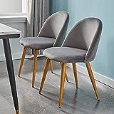 CLIPOP Juego de 2 sillas de comedor de terciopelo,Sillas de Comedor Tapizadas con patas de metal resistente de estilo de madera para salón, sala de estar, cocina, oficina y restaurante, Gris