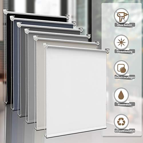 Sanfree Thermorollo Klemmfix ohne Bohren, Verdunkelungsrollo für Fenster Sichtschutz, Rollo Sonnenschutz Klemmrollo Fensterrollo Innen Blickdicht Silberbeschichtung,Weiß 50x150cm (BxH)