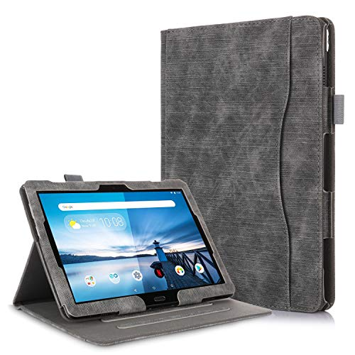 TTVie Hülle für Lenovo Tab M10 / P10 - PU Lederhülle Schutzhülle Cover Tasche mit Stylus-Halterung für Lenovo Tab M10 / P10 25,5 cm (10,1 Zoll FHD IPS Touch) Tablet-PC, Schwarz