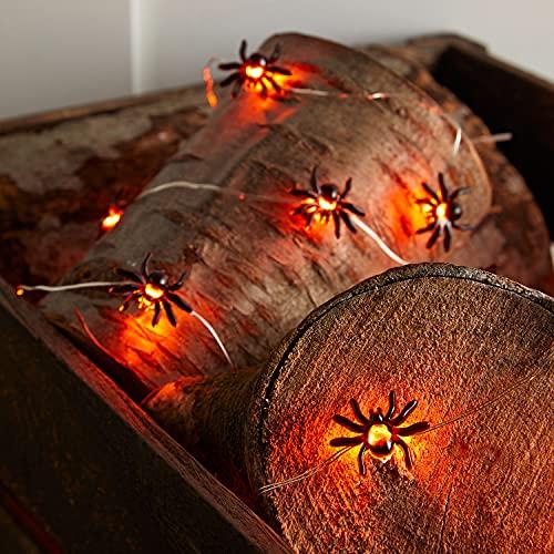 Lights4fun Catena Luminosa di Halloween Ragni con 80 LED Bianchi Caldi a Pile per Interni
