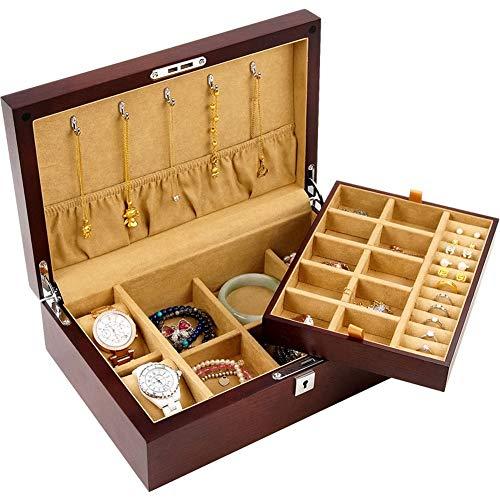 EIU juwelendoosje hout dubbele opslag klok opslag massief houtfineer sieraden collectie juwelendoos voor vrouwen W04/10