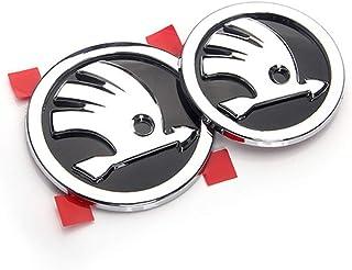YEEXCD Auto Vorne Hinten Hinter Grille Abzeichen Emblem 3D Metall Aufkleber, für Skoda, Auto Körper Dekoration Logo Styling