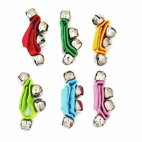 QUCHENG Anillo de Campana de muñeca con Velcro de Nylon para niños, Pulsera de Juguete con Anillo de Serpiente de Cascabel, Color al Azar, Pulsera de Campana de Longitud Ajustable (Paquete de 6)