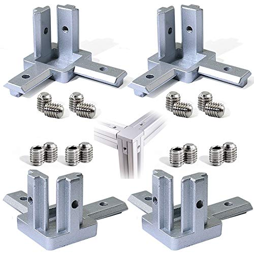 Boeray 3-Way End Corner Bracket Connector for European Standard Aluminum Extrusion Profile 2020 Series Slot 6mm Pack of 4 with Screws