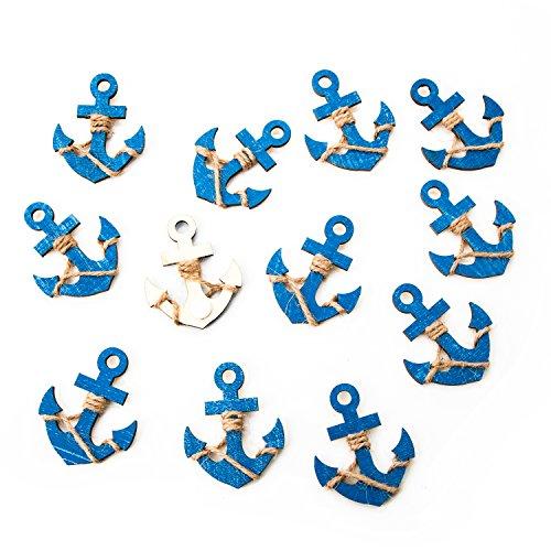 Logbuch-Verlag 12 anclas de madera azul con punto adhesivo - decoración marítima para regalos mesas embalajes - boda comunión bautismo