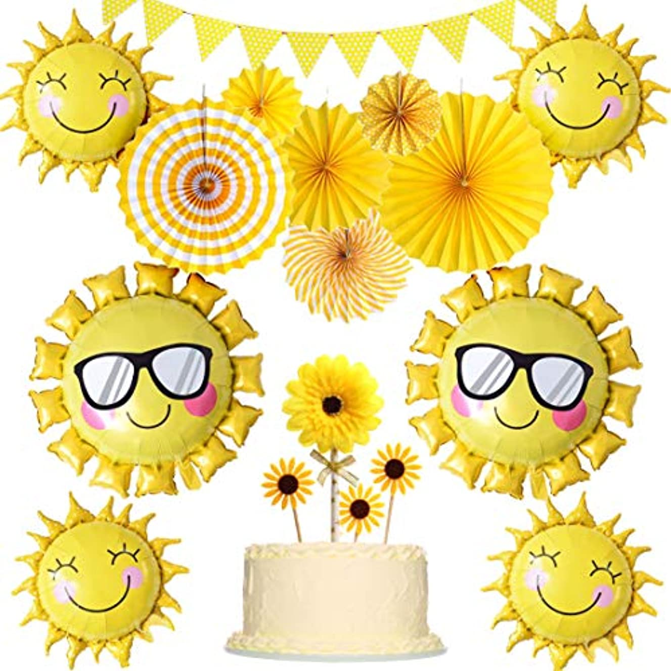 JOYMEMO Sunshine Party Decorations Yellow Hanging Paper Fans Sunflower Cake Toppers and Balloons for Sunny Summer Theme Party Birthday Baby Shower Supplies