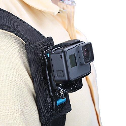 TELESIN - Soporte de correa de hombro para cámara, soporte ajustable para hombro y correa para GoPro Hero/Fusion/Session, Polaroid, Xiaomiyi, SJCAM, Osmo Action (soporte de correa de mochila)