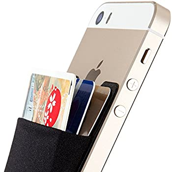 Sinjimoru Card Holder for Back of Phone Stick on Wallet functioning as Credit Card Holder Phone Wallet and iPhone Card Holder / Card Wallet for Cell Phone Sinji Pouch Basic 2 Black
