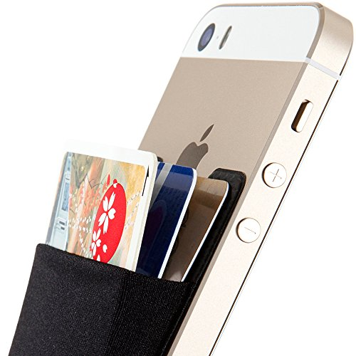 Sinjimoru Smart Wallet (aufklebbarer Kreditkartenhalter) / Smartphone Kartenhalter/Handy Geldbeutel/Mini Geldbörse/Kartenetui für iPhones und Android Smartphones. Sinji Pouch Basic 2, Schwarz.